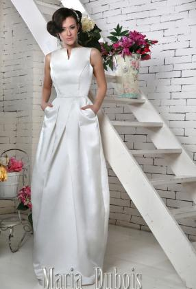 прямое атласное свадебное платье